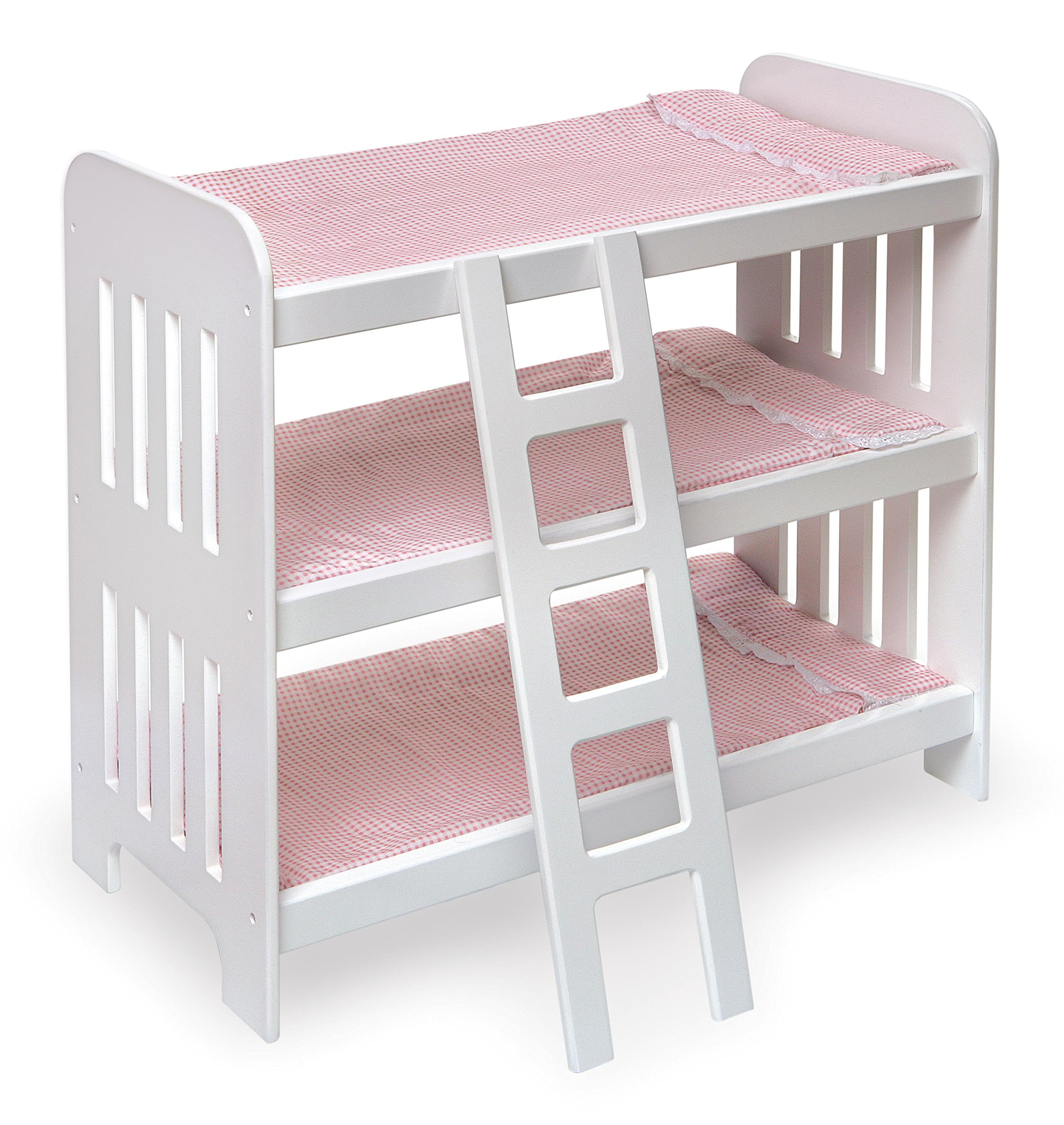 Triple Doll Bunk Bed with Ladder, Bedding, and Free Personalization Kit (fits American Girl Dolls) by Badger Basket