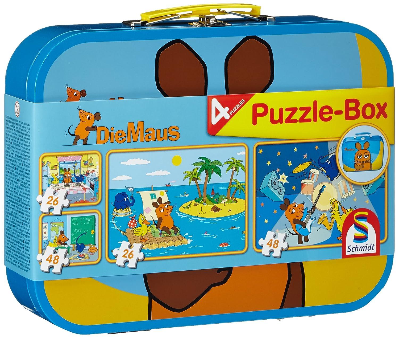 Schmidt Spiele 55597 - Puzzle Maus im Metallkoffer 2 x 26 Teile, 2 x 48 Teile B002GYVA6Q Legespiele Puzzles Non Books