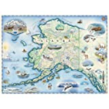 Alaska Map Wall Art Poster - Authentic Hand Drawn Maps in Old World, Antique Style - Art Deco for Home Office Décor - Lithogr