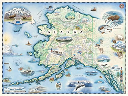 Amazoncom Alaska Map Wall Art Poster Authentic Hand Drawn Maps - Authentic world map