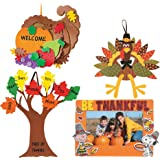"Craft Kits Thanksgiving & Autumn | Peanuts Be Thankful Picture Frame Magnet Kit, Foam Cornucopia Door Sign Kit, Turkey Making Kit & ""Tree of Thanks"" Kit 