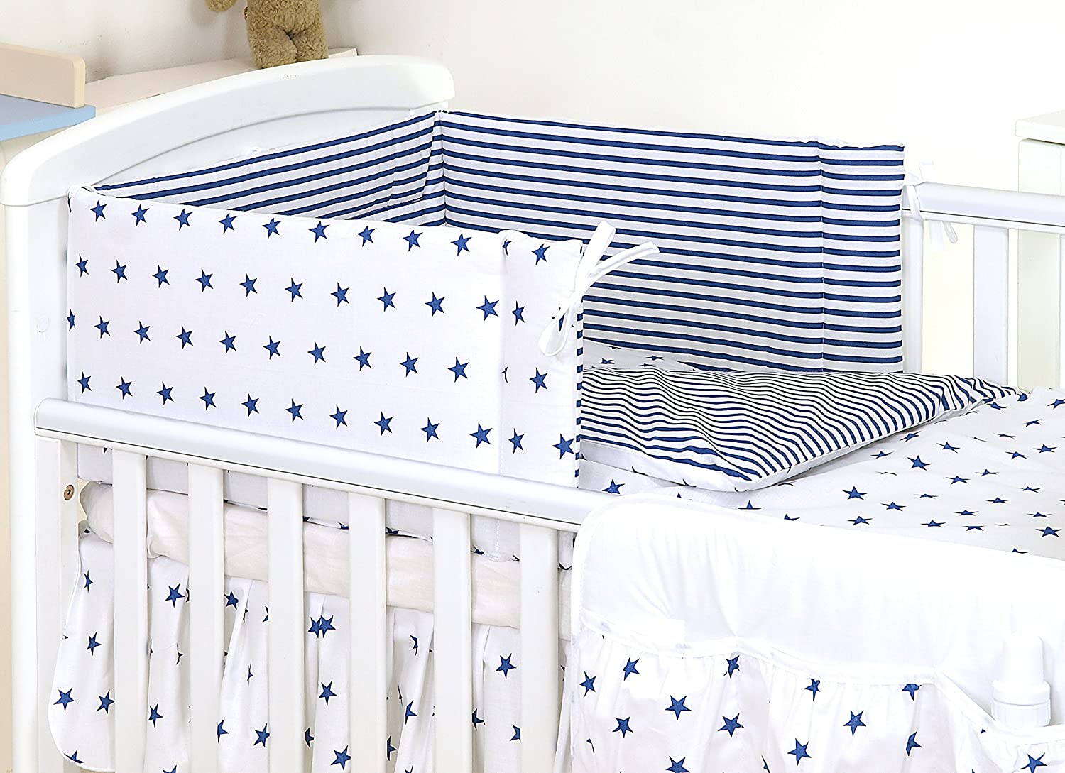 3 PCS PRO COSMO BABY BEDDING SET TO FIT COT & COT BED - 100% Cotton (to fit cot bed 120x60cm mattress size, 19)