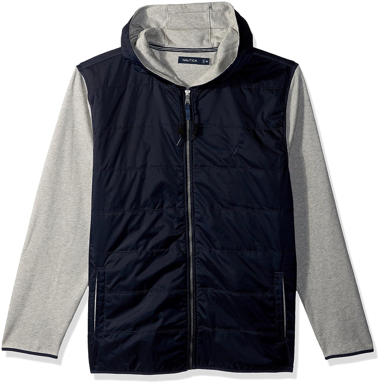 Nautica Long Sleeve Mix Media Fleece Zip Front Hoodie
