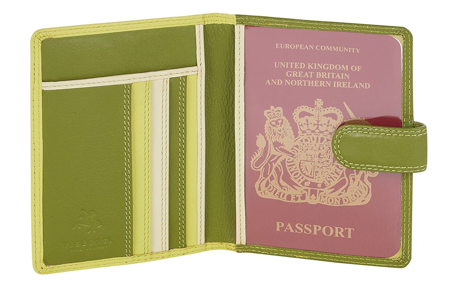 Visconti Leder Damen Passhülle 'Rainbow' Multicolor / Mehrfarbig Passport Cover Case(RB75)