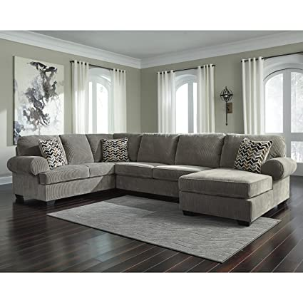 Beau Flash Furniture Signature Design By Ashley Jinllingsly 3 Piece LAF Sofa  Sectional In Gray Corduroy