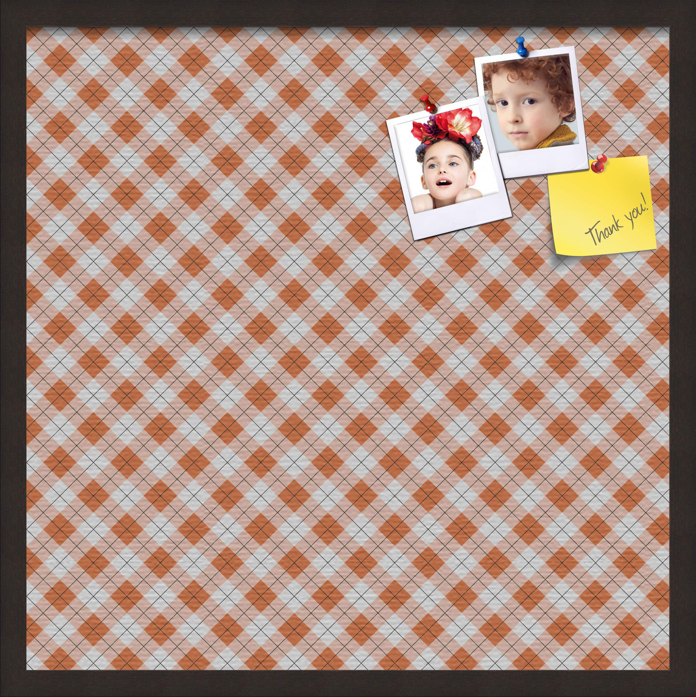 ArtToFrames 24x24 Inch Custom Cork Bulletin Board. This Argyle Burnt Orange Pin Board Comes with a Fabric Style Canvas Finish, in a Coffee Frame (PinPix-634-24x24_FRBW26061) by PinPix