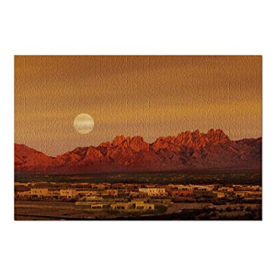 Las Cruces, New Mexico - Full Moon Over The Organs Mountains & Adobes 9034673 (Premium 1000 Piece Jigsaw Puzzle for Adults, 20x30, Made in USA!): Toys & Games