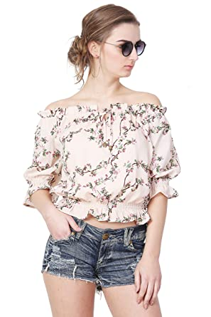f70fffbeeb8 Fashion8Home Beige Summer Cool Printed Off Shoulder Top Top for ...