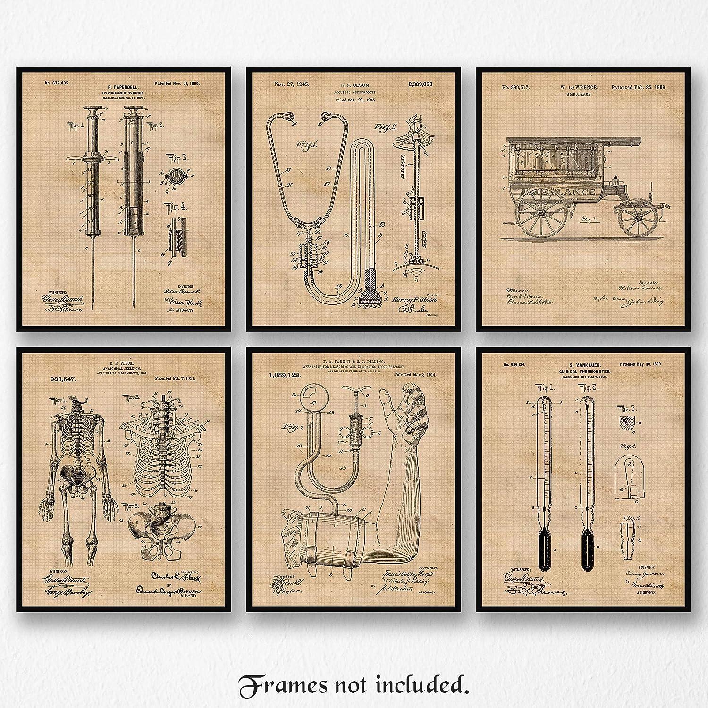 Original Medicine Patent Poster Prints, Set of 6 (8x10) Unframed Photos, Wall Art Decor Gifts Under 20 for Home, Office, Garage, Man Cave, Doctor, College Student, Teacher, Nurse, Technician & ER Fan