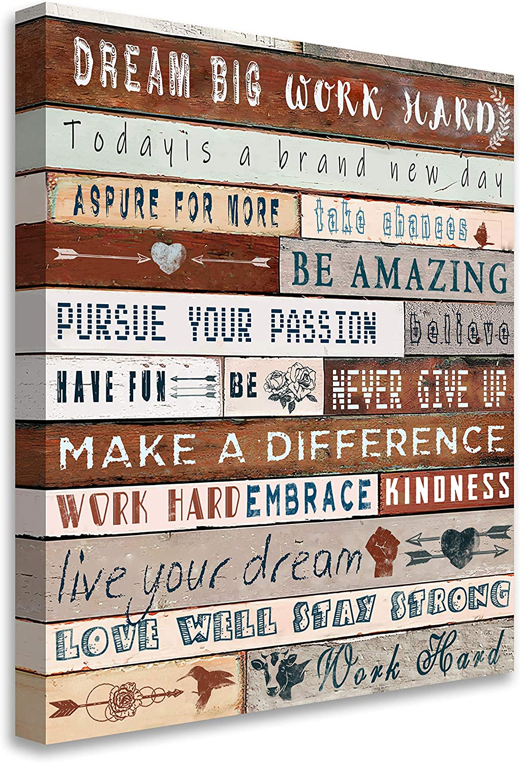 Blueyearn Inspirational Wall Art for Office Quotes Wall Decor for Women Vintage Motivational Canvas Prints Framed Wall Art for Bathrooms Modern Office Decor Canvas Art Wall Decor,11x14in