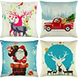 Elyhome Christmas Pillow Covers 18x18 Set of 4 Cotton Linen Burlap Throw Pillows Decorative Square Cushion Cover Reindeer Santa Claus Red Car Christmas Tree
