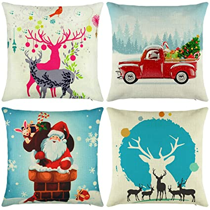 elyhome christmas pillow covers 18x18 set of 4 cotton linen burlap throw pillows decorative square cushion