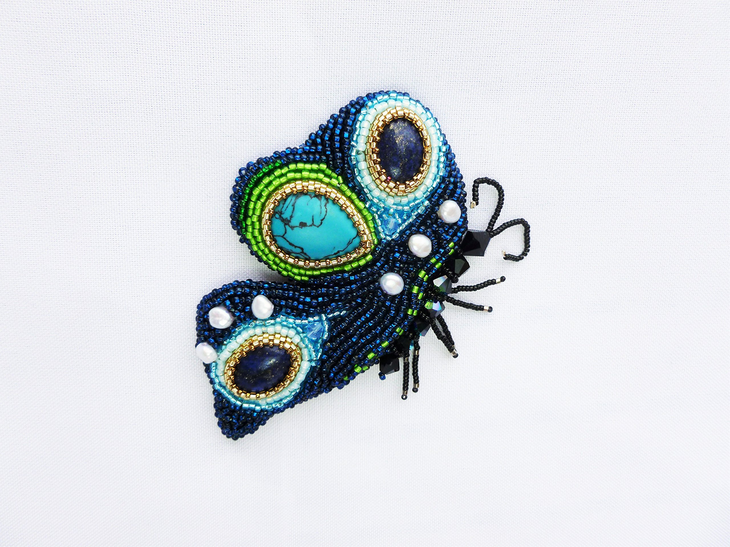 Insect Brooch, Butterfly brooch, Gemstone embroidered butterfly, Fashion statement brooch, Bead embroidered brooch, large Buttefly brooch