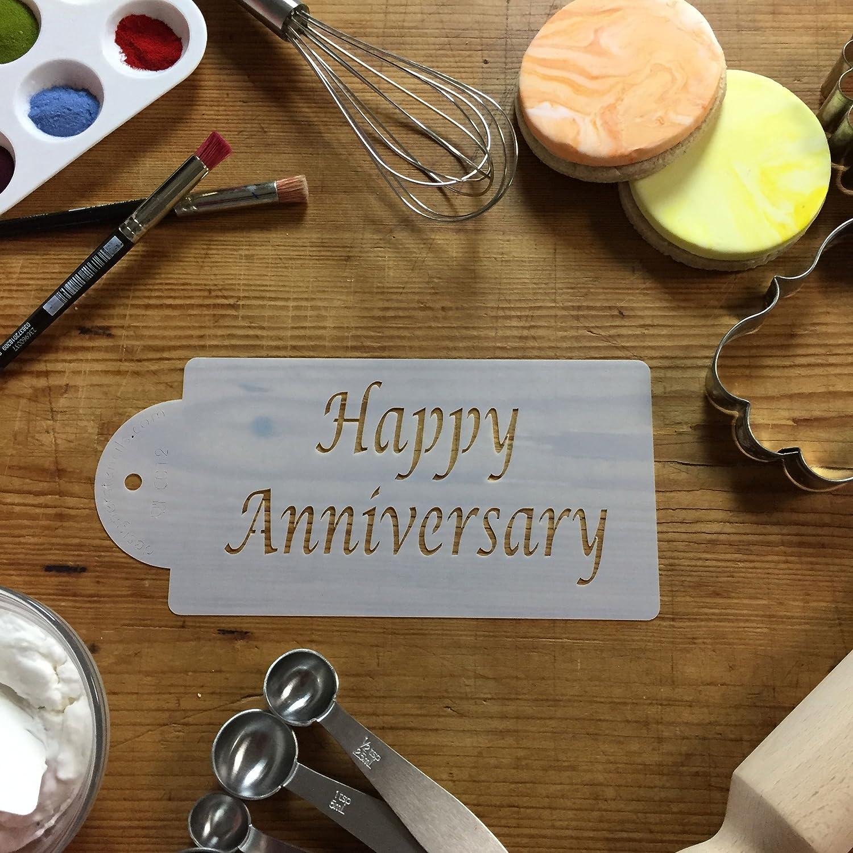 Beige//semi-transparent Designer Stencils C012 Happy Anniversary Cake Stencil