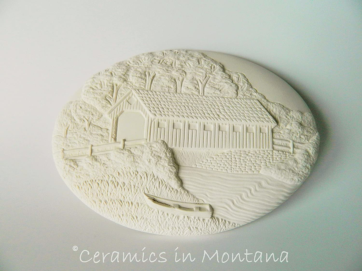 Dona's Summer Covered Bridge Seasons Insert - Ready to Paint Ceramic Bisque - Hand Poured in the USA Ceramics In Montana