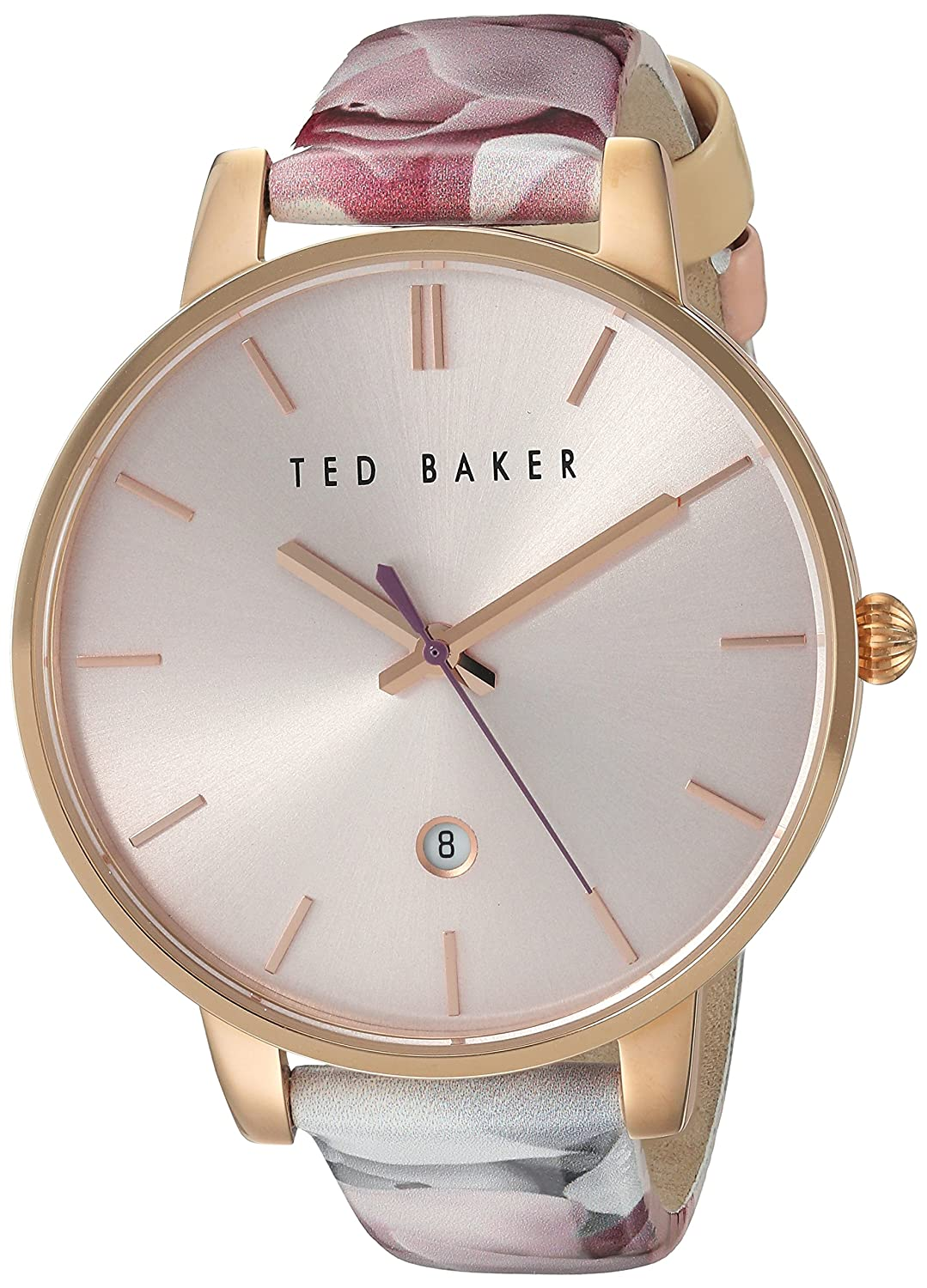 Damen Rose Gold Ton Quarz Akku Ted Baker Fashion Uhr an Lederband mit Datum. te10030695