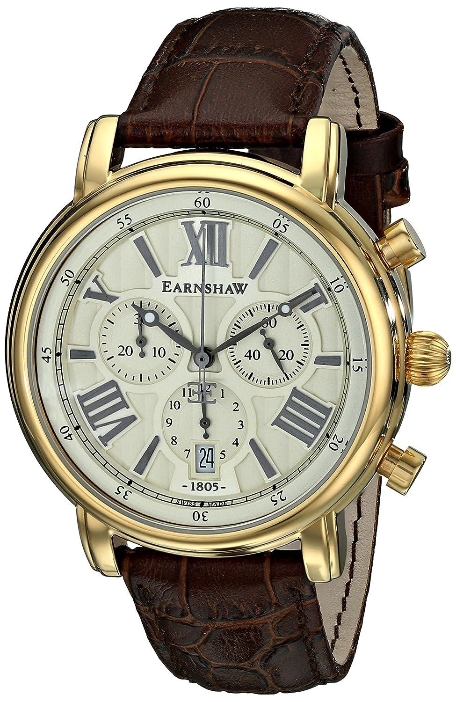 Earnshaw Herren ES-0016-03 Longcase Analog Display Swiss Quartz Brown Armbanduhr