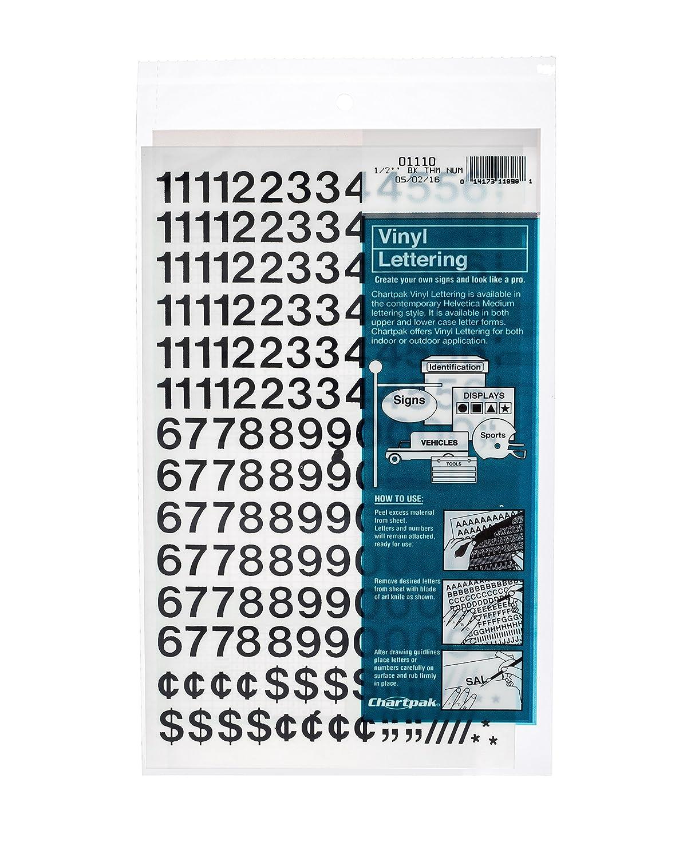 Amazon.com: Chartpak Self-Adhesive Vinyl Numbers, 1/2 Inch High ...