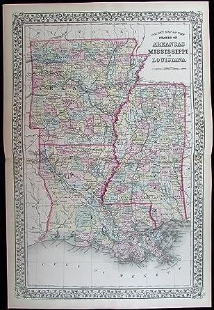 Amazon Com County Map Arkansas Louisiana Mississippi 1872 Gamble