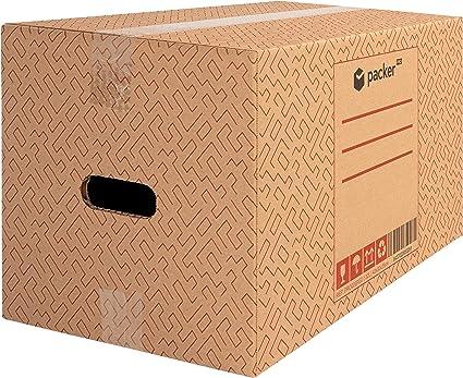 Packer PRO - Pack 20 Cajas Carton para Mudanzas y Almacenaje 430x300x250mm Ultra Resistentes con Asas, 100% ECO Box: Amazon.es: Oficina y papelería