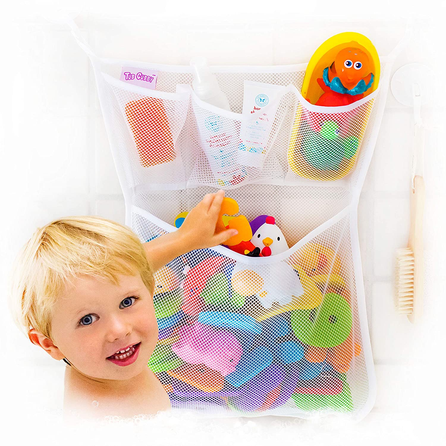 Tub Cubby Bath Toy Organizer + Ducky - Mold Resistant Mesh Net Bin - Baby Bathtub Game Holder with Suction & Sticker Hooks Toddler Play Bathroom Storage Tray Bag Shower Caddy - Kids CPSIA Safety Award: Toys & Games