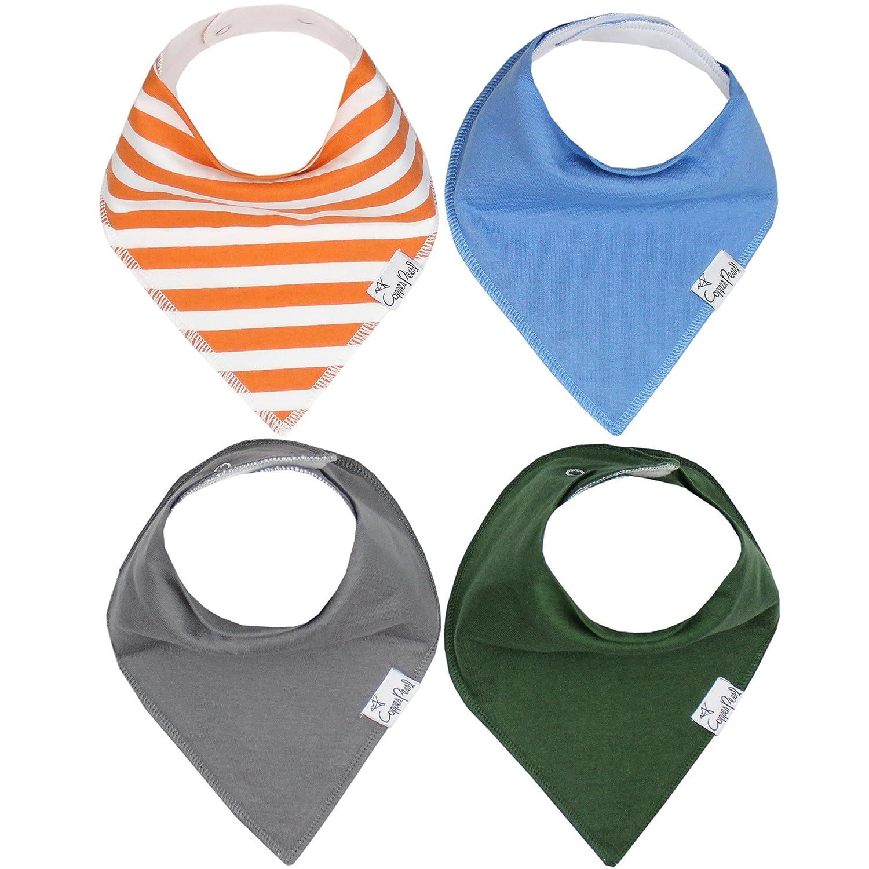 Baby Bandanna Teething Drool Bibs 4 Pack Set Boys Girls Black Orange Green