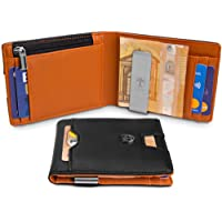"""TRAVANDO Slim Wallet """"London"""" – Thin Bifold Card Wallet – with Coin Compartment - 8 Card Slots - RFID Blocking - Perfect Gift for Men - with Gift Box - Designed in Germany"""