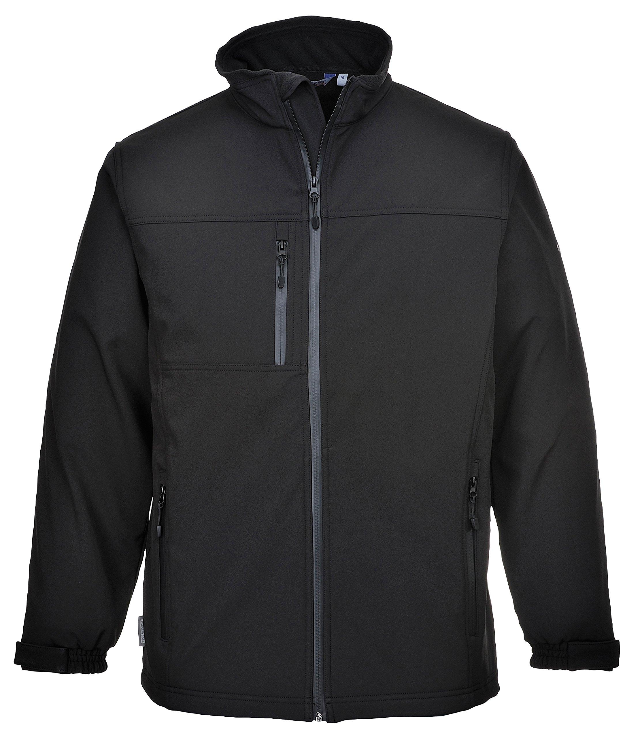 Portwest Softshell Jacket Windproof Waterproof Breathable Outdoor Coat (L, Black)