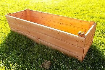 Ruddings Wood 110cm Litton Large Wooden Trough Planter Amazon Co Uk