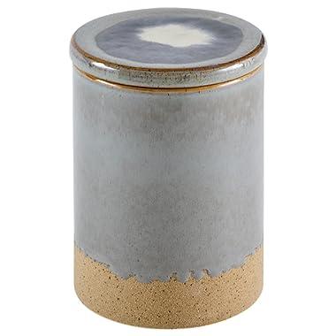 Stone & Beam Organic-Shape Stoneware Round Decorative Organizer Box, 6.4 Inch Height, Blue and Gray