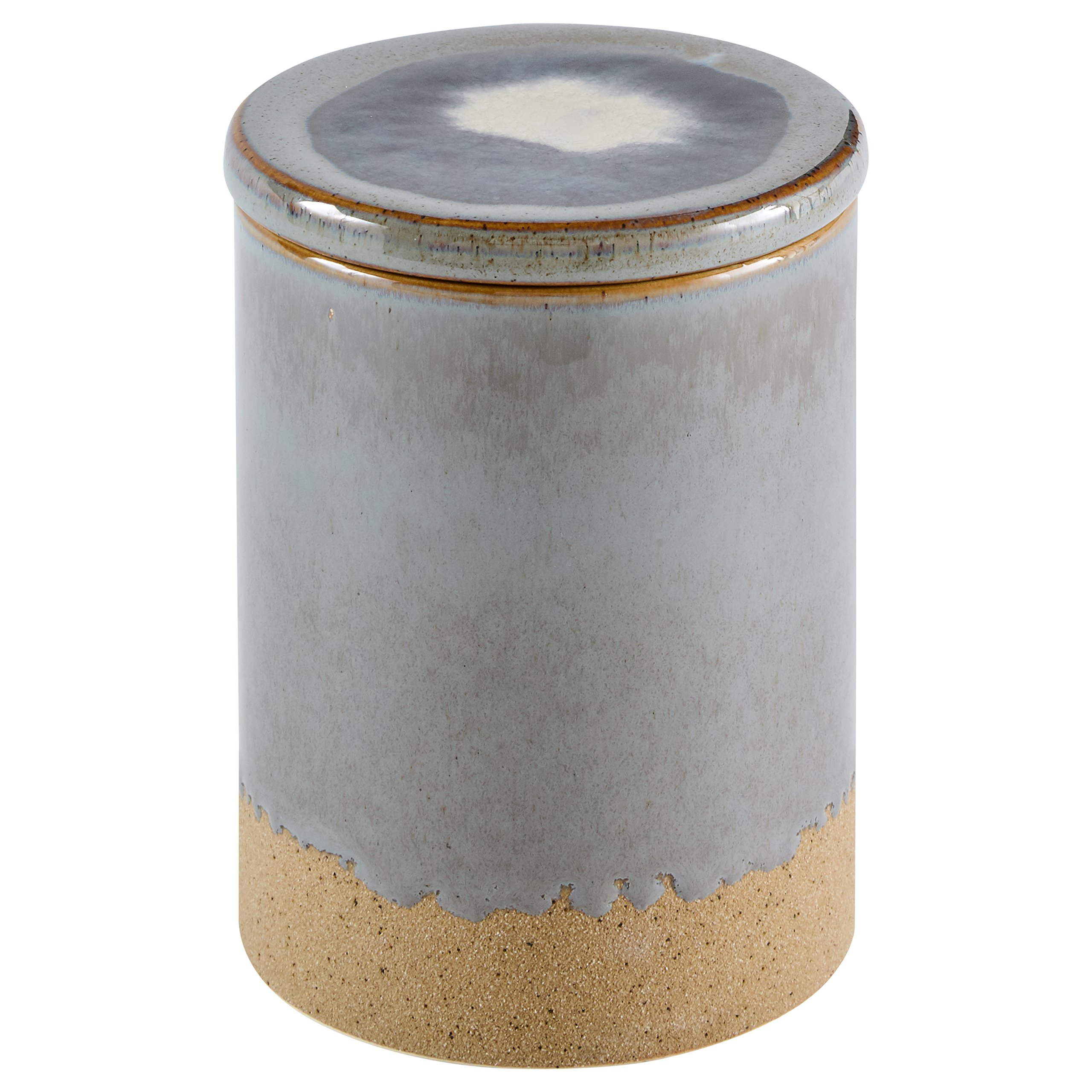 Amazon Brand – Stone & Beam Organic-Shape Stoneware Round Decorative Organizer Box, 6.4 Inch Height, Blue and Gray