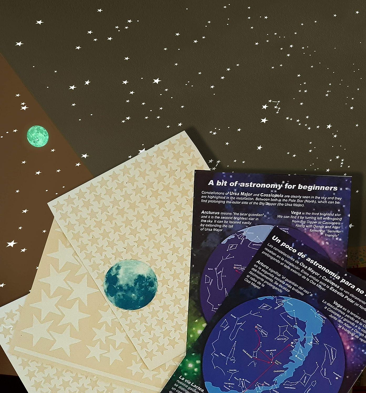 Alcrea. Luna + 462 Estrellas Fluorescentes Luminosas + 2 Mapas simplificados con constelaciones + tiras fosforescentes para marcarlas. Brillan en la oscuridad con luz más brillante. SIN PLANTILLA