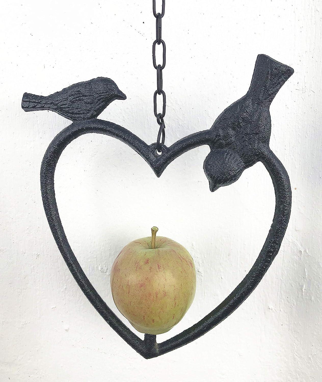 spring life Mangeoire /à Fruits en Fonte en Forme de c/œur en 2 Couleurs 17CMX22CM Noir