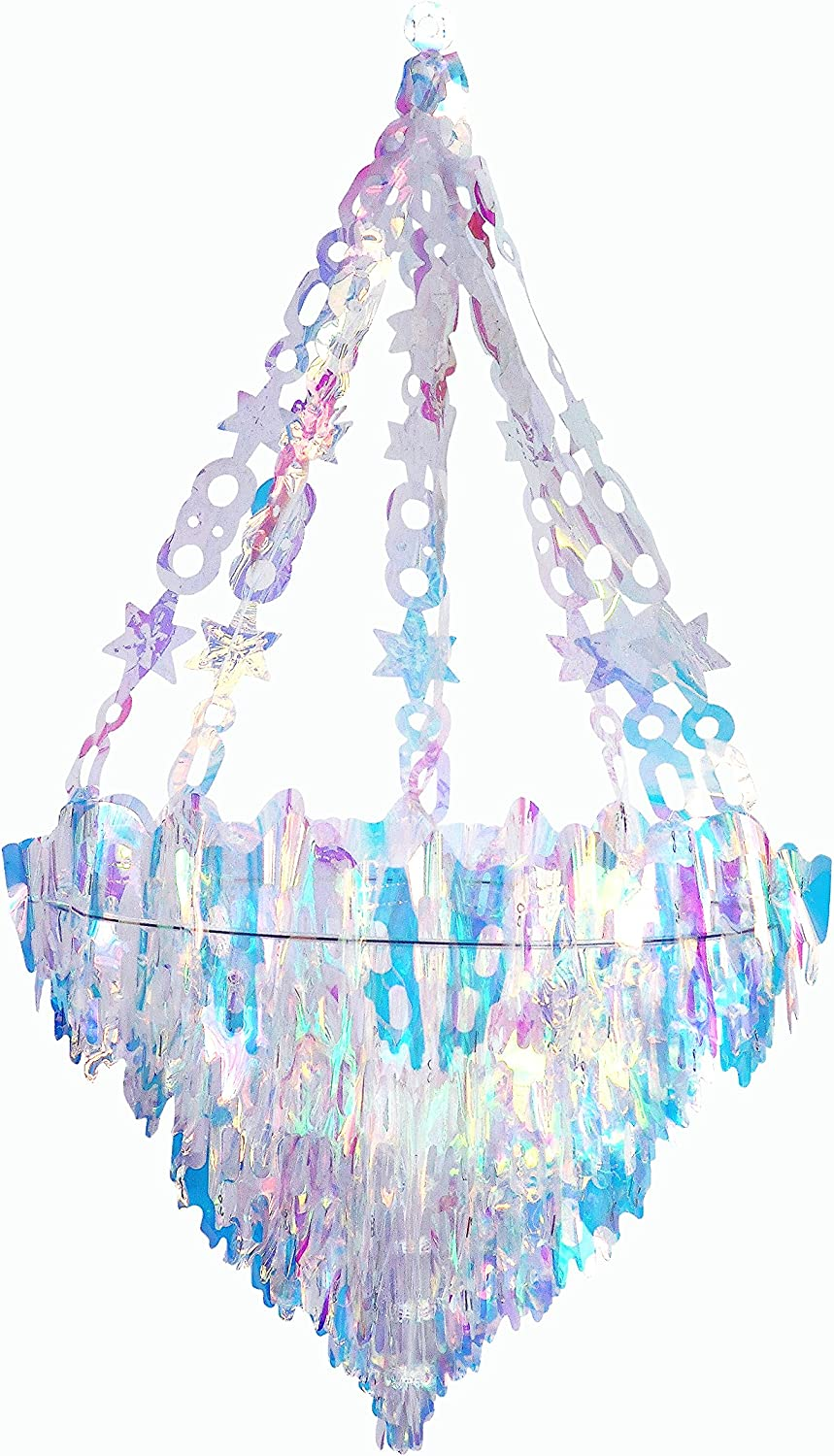 NICROLANDEE Iridescent Party Decorations Hanging Chandelier Shaped Ceiling Ornaments for Christmas New Year Frozen Winter Wonderland Magical Unicorn Baby Bridal Shower Wedding Birthday Nursery Decor
