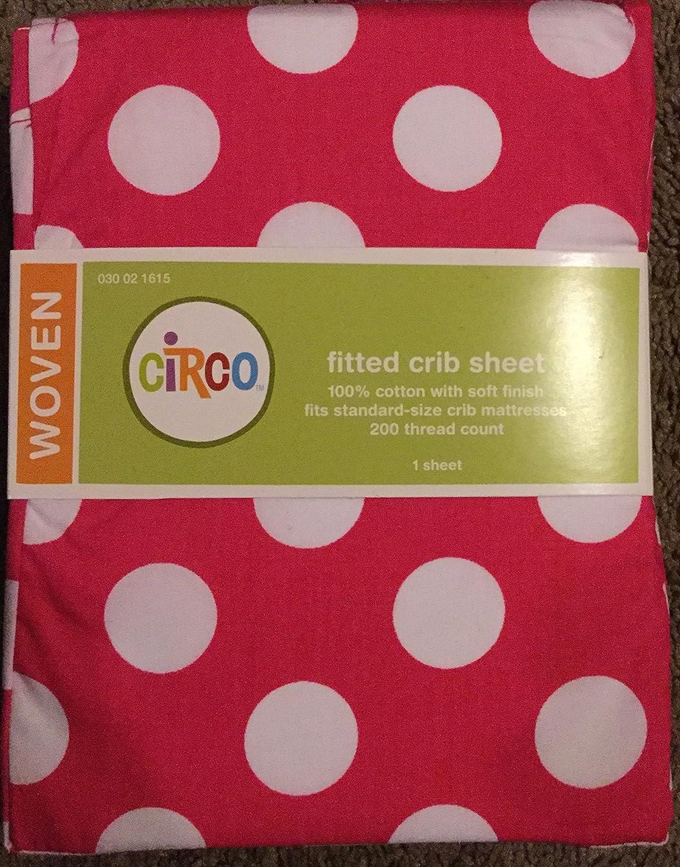Circo Big Modern Pink Dot Fitted Crib Sheet [並行輸入品]   B00K6WPNYU