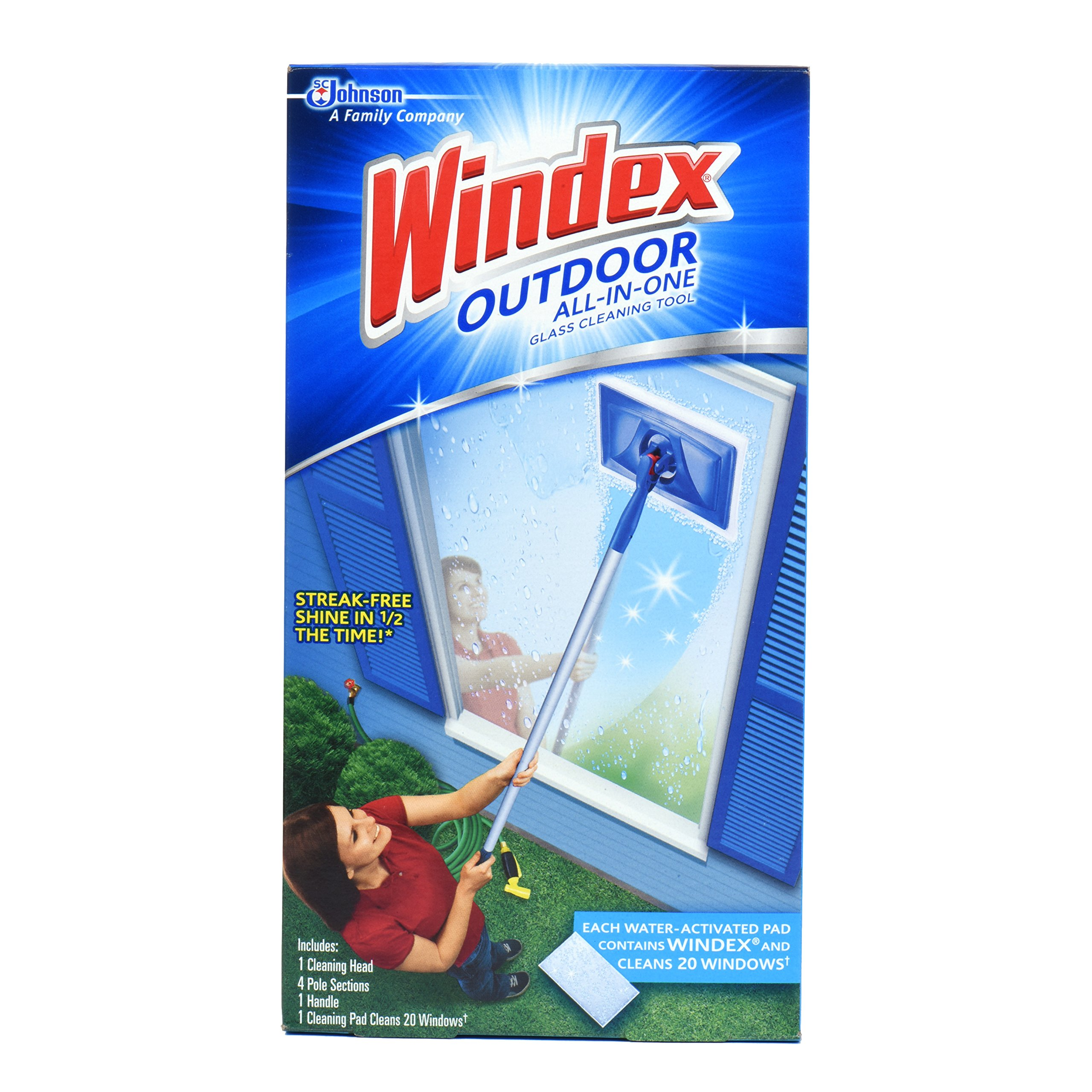 Windex Outdoor All In One Glass Cleaner Tool Starter Kit With Pad FREE USA SHIP