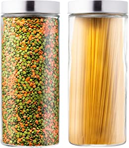 EatNeat Set of 2 Large Glass Kitchen Canisters | Tall and Round Food Storage Containers with Stainless Steel Lids- 72 oz each