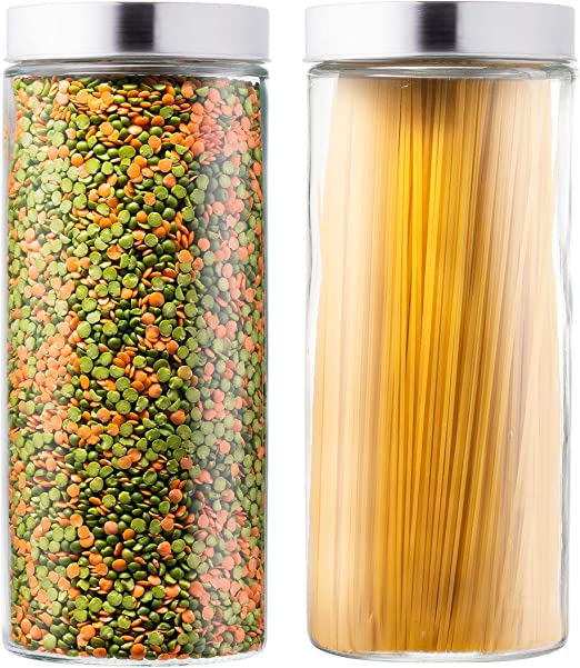 EatNeat Set of 2 Large Glass Kitchen Canisters with Stainless Steel Lids - Glass Storage Containers for Pantry that Keep Food Fresh and Organized - Fits Bulk Food and Spaghetti Pasta - 72 Ounces Each