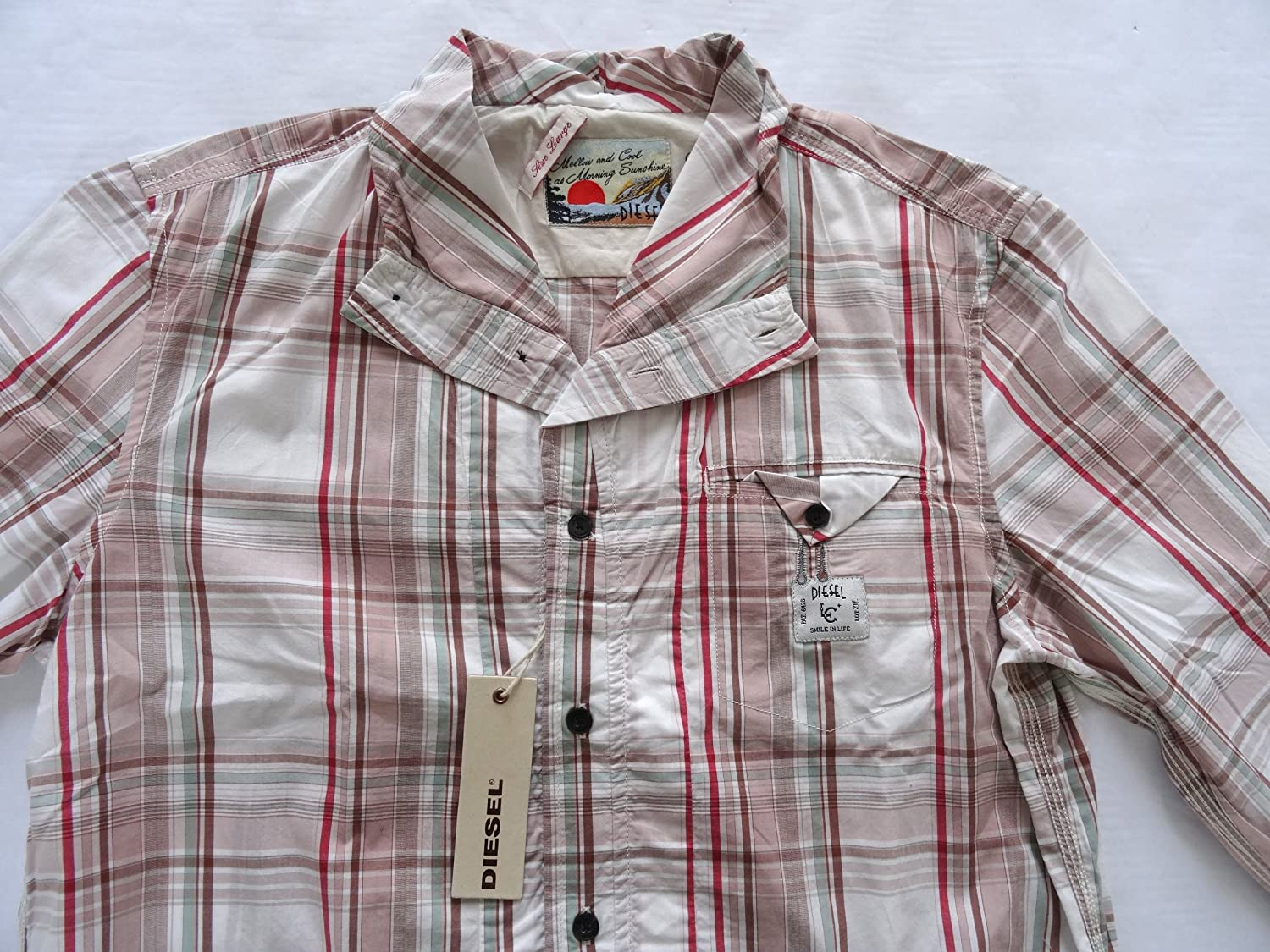 Diesel jeans mens Stephens shirt long sleeve 34P colour pink/white:  Amazon.co.uk: Clothing