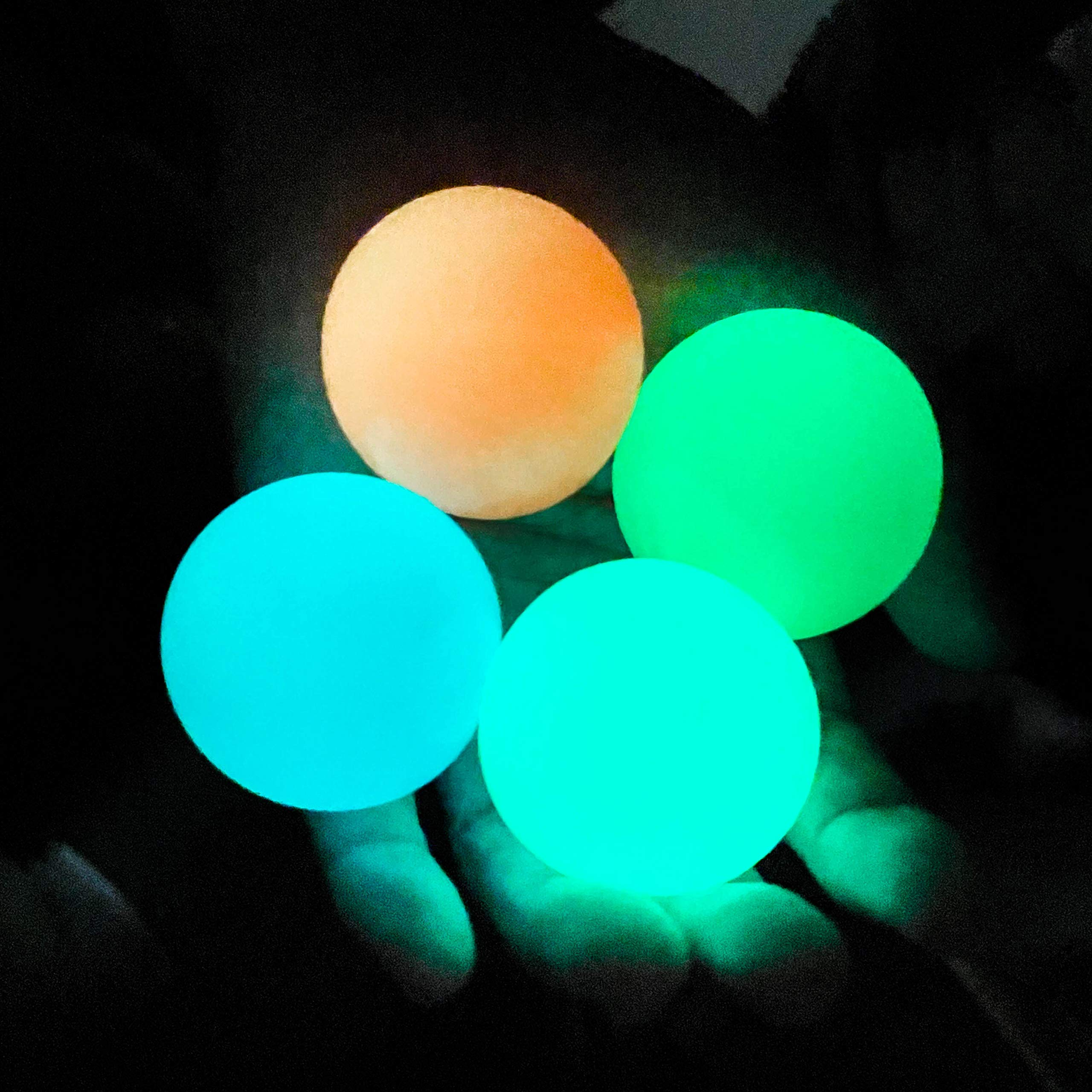 Glow in The Dark Sticky Ceiling Balls,Fidget Balls for Adults and Kids,Glow Stress Balls,Squishy Toys for Kids,Fidget Toys,Sensory Toys,Stress Toys,Gifts for Adults and Kids(4Pcs)