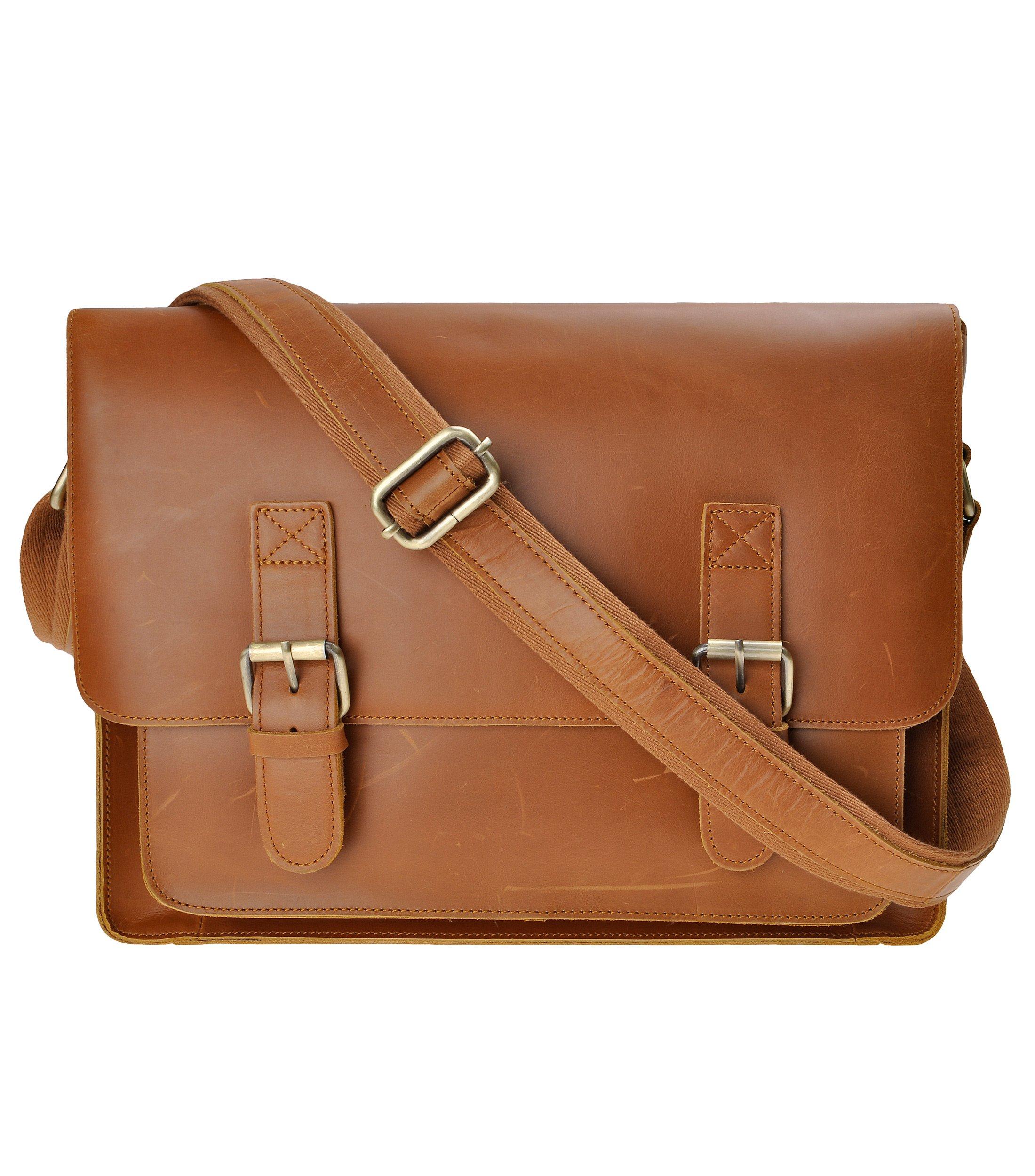 Men vintage genuine leather Messenger Laptop Bag14 inch brown