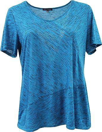 Striped T-shirt Blouse Tops Irregular Clothes M~4XL Women Short sleeve V neck
