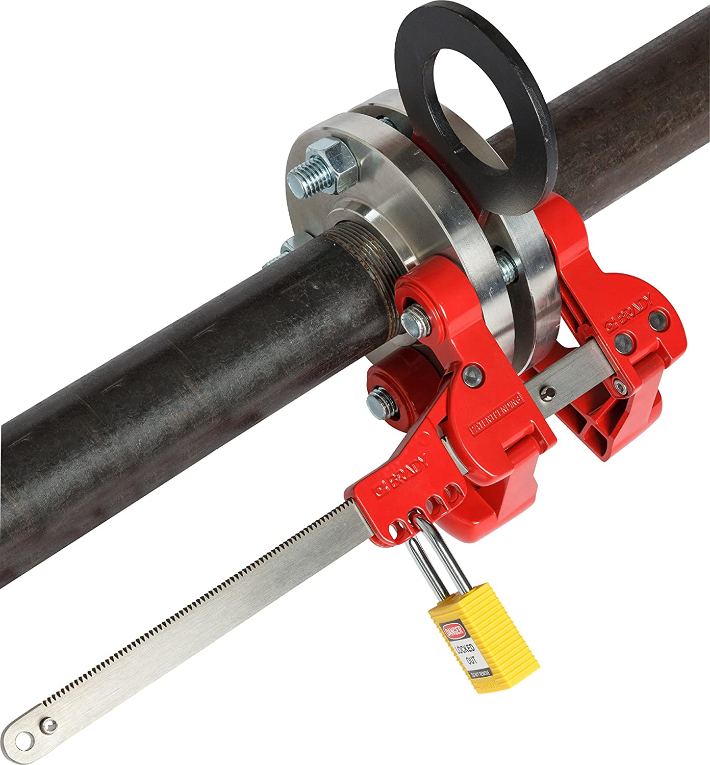 Adjustable Lockout Device Secures Flange Bolts and Pipe Blinds 149229 Brady Pipe Blind Flange Lockout Device 17.75 Height by 8.5 Width