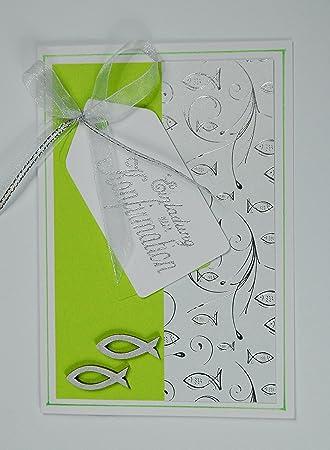 10 X Hochwertige Einladungskarten Zur Konfirmation U0026quot;Fischeu0026quot;    Maigrün *Handmade*grün