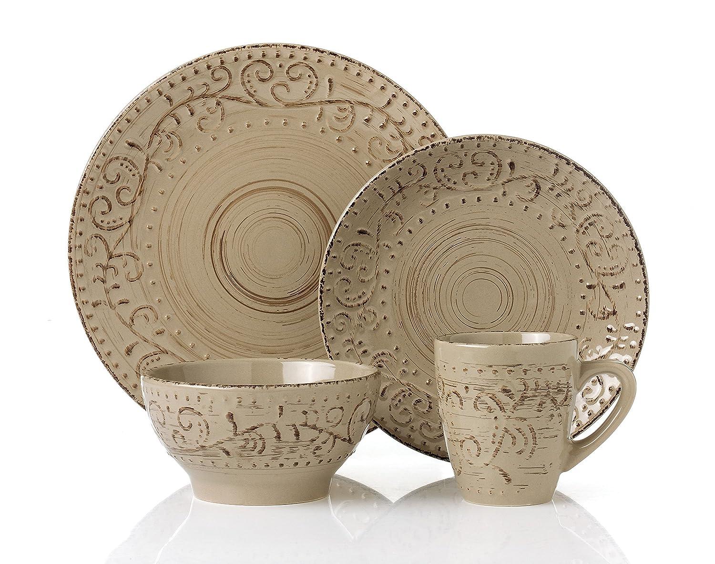 Amazon.com | Lorren Home Trends LH431P 16 Piece Round Stoneware ...