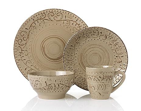 Lorren Home Trends LH431P 16 Piece Round Stoneware Distressed Dinnerware Set Green/Mocca  sc 1 st  Amazon.com & Amazon.com | Lorren Home Trends LH431P 16 Piece Round Stoneware ...