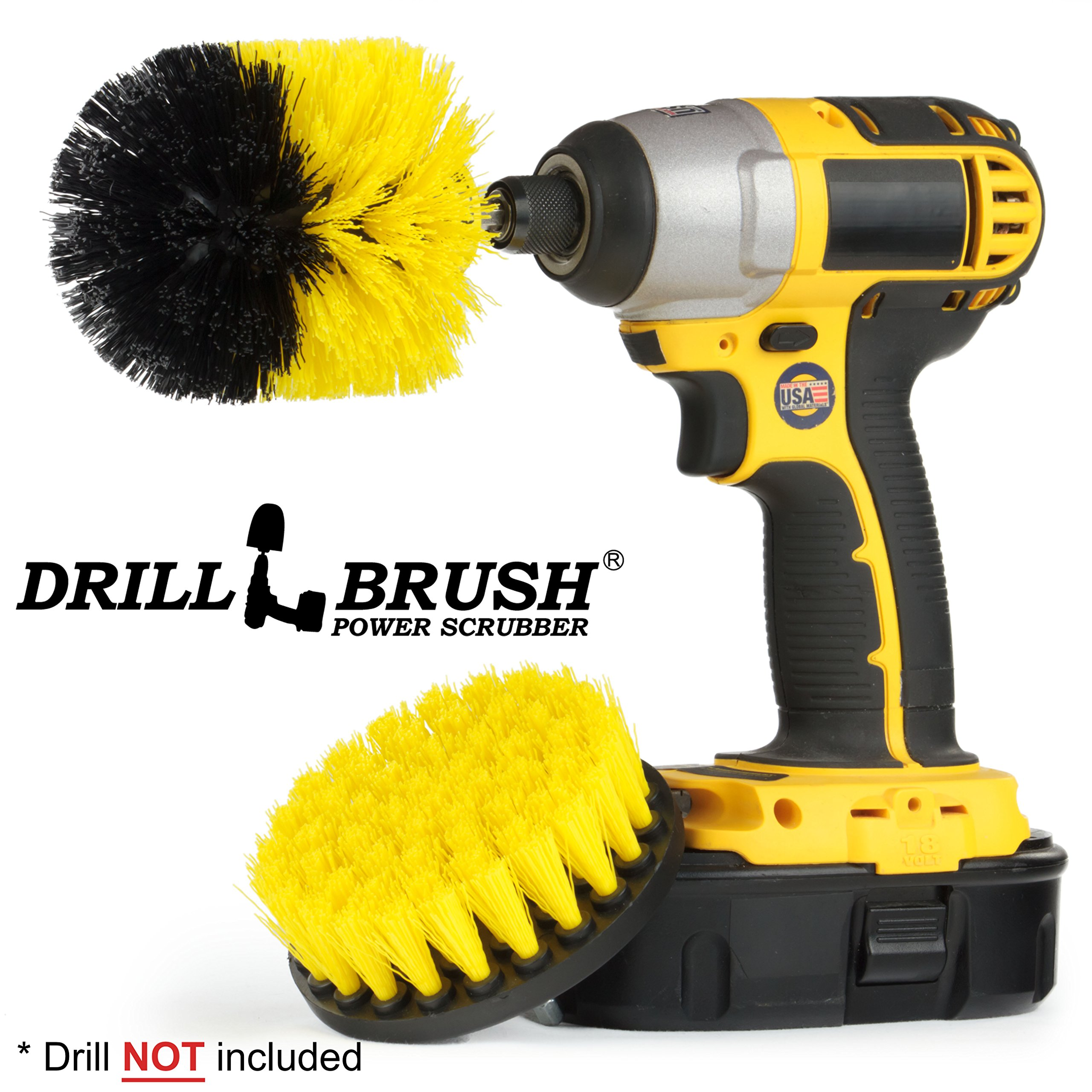 New Quick Change Shaft Shower, Tub, and Tile Power Scrubber Brush by Drillbrush