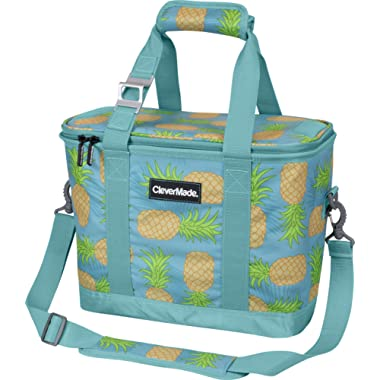 CleverMade SnapBasket 30 Can Soft-Sided Collapsible Cooler: 20 Liter Insulated Tote Bag with Shoulder Strap, Pineapple