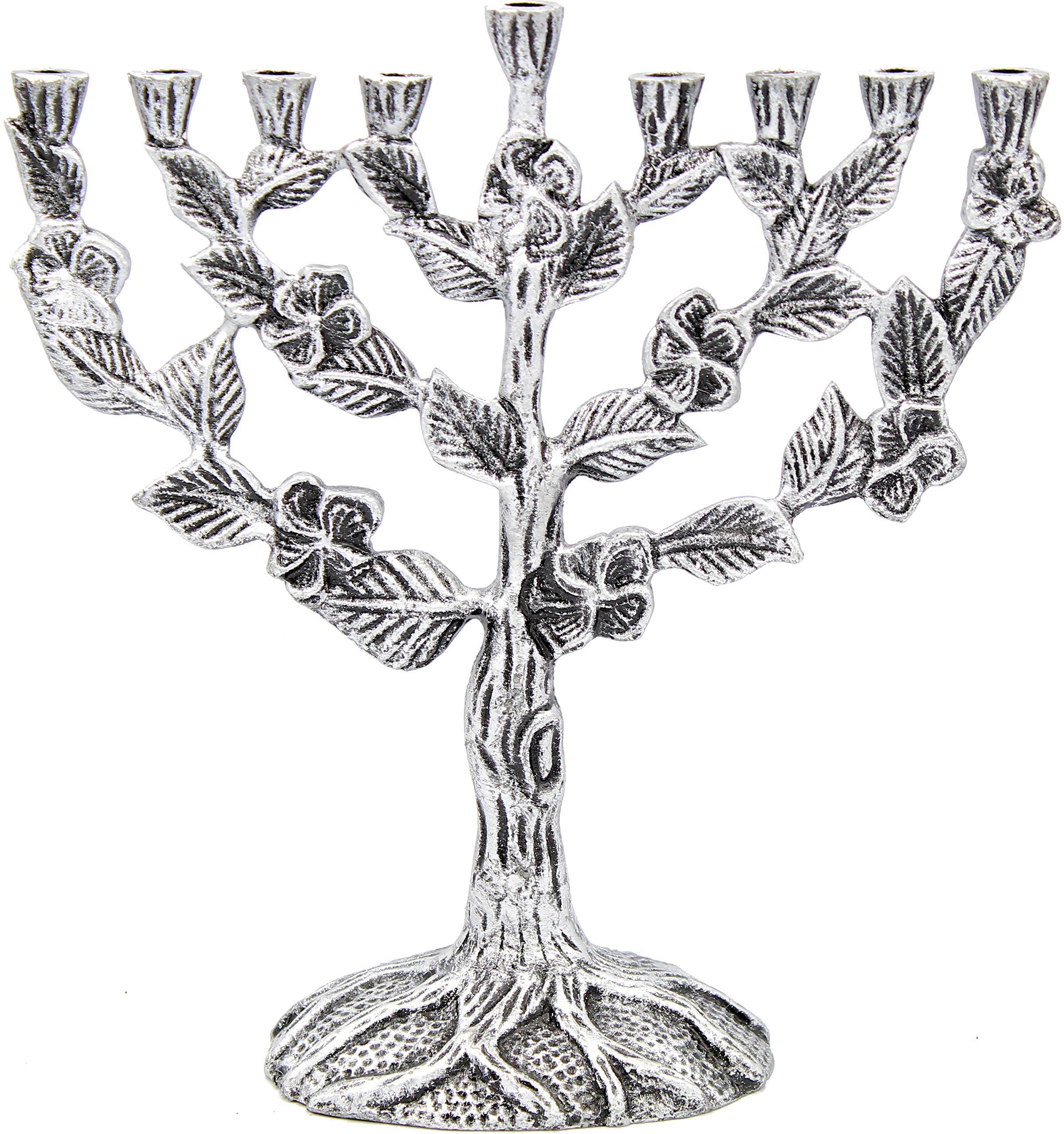 The Dreidel Company Menorah Tree of Flowers Antique (Tree of Flowers Antique Silver Finish)