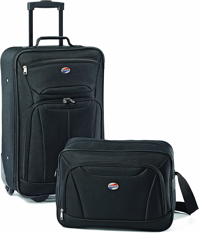 Amazon Com American Tourister Fieldbrook Ii Softside Upright Luggage Set Black 2 Piece Tote 21 Luggage Sets